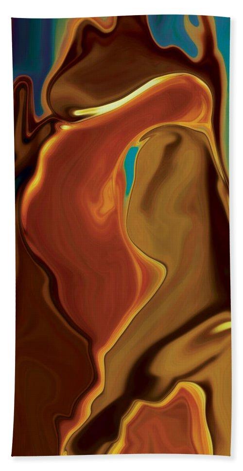 Abstract Art Blue Brown Digital Embrace Figurative Girl Green Kiss Love Man Night Passion Rabi_khan Bath Sheet featuring the digital art The Kiss by Rabi Khan