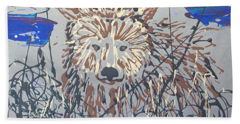 Bear In Bushes Bath Towel featuring the painting The Kodiak by J R Seymour