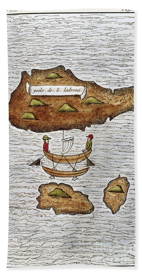 1521 Hand Towel featuring the photograph The Ladrone Islands by Granger