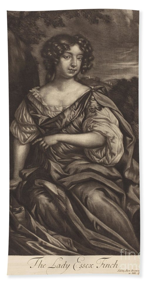 Hand Towel featuring the drawing The Lady Essex Finch by Alexander Browne After Sir Peter Lely
