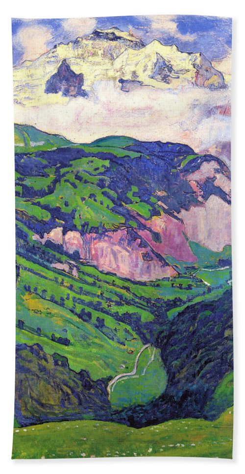 Ferdinand Hodler Hand Towel featuring the painting The Lady Of Isenfluh by Ferdinand Hodler