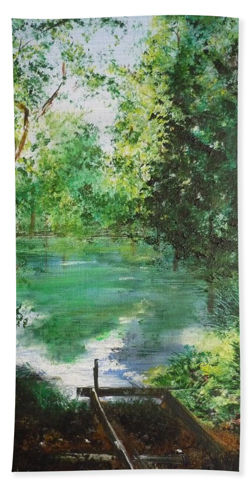 Lake Bath Towel featuring the painting The Lake At Stansted Unfinished by Lizzy Forrester