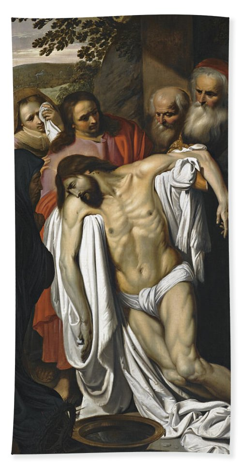Pieter Van Mol Hand Towel featuring the painting The Lamentation by Pieter van Mol