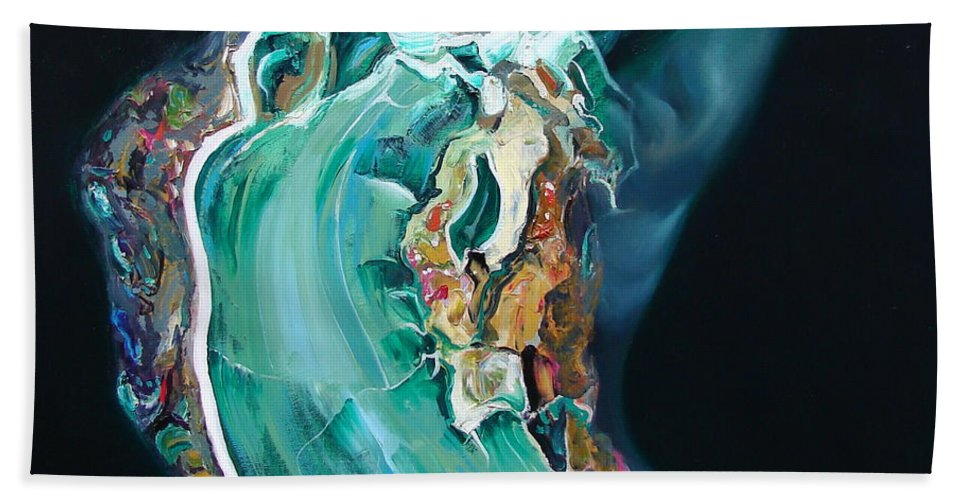 Ignatenko Hand Towel featuring the painting The Landlady Of Copper Mountain by Sergey Ignatenko