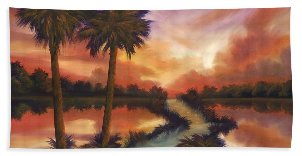 Skyscape Bath Towel featuring the painting The Lane Ahead by James Christopher Hill