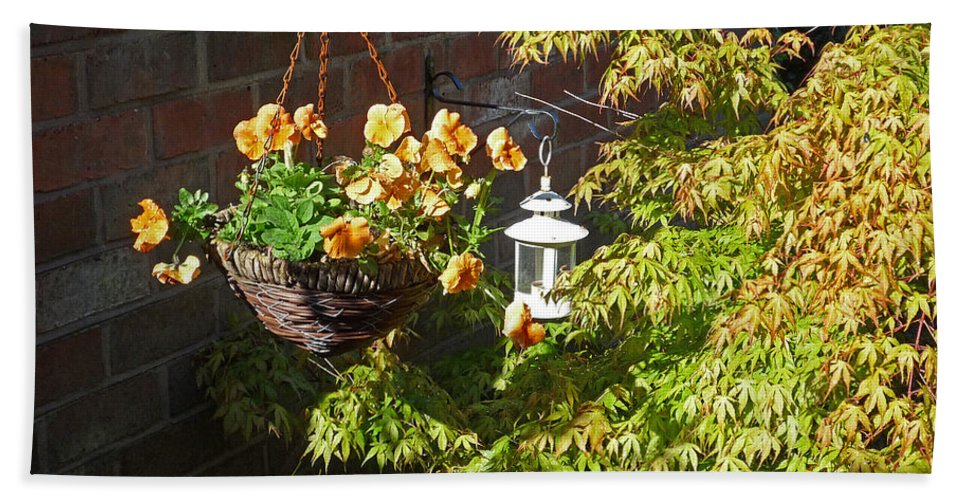 Hanging Basket Bath Sheet featuring the photograph The Lantern by Charles Stuart