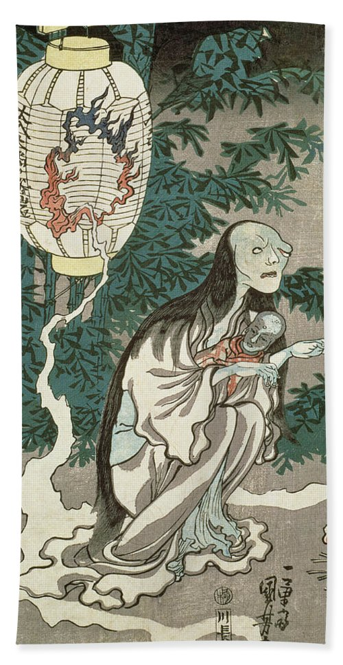 Ghost Hand Towel featuring the drawing The Lantern Of The Ghost Of Sifigured O-iwa by Japanese School