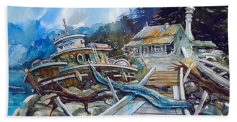 Boat Bath Towel featuring the painting The Last Bastion..on the Beach by Ron Morrison