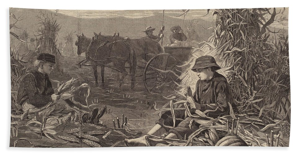 Hand Towel featuring the drawing The Last Days Of Harvest by After Winslow Homer