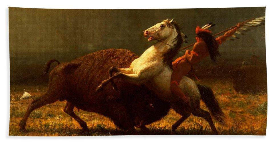 Albert Bierstadt Hand Towel featuring the painting The Last Of The Buffalo by Albert Bierstadt