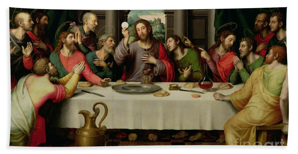 The Last Supper (oil On Panel) By Vicente Juan Macip (juan De Juanes) (c.1510-79) Hand Towel featuring the painting The Last Supper by Vicente Juan Macip
