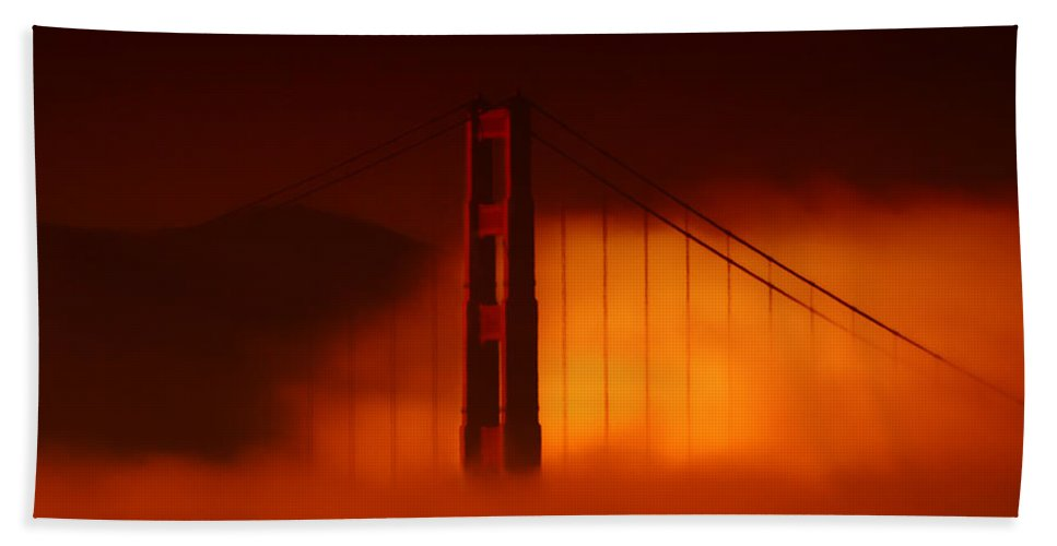 Golden Gate Bridge Hand Towel featuring the photograph The Last To Fall by Donna Blackhall