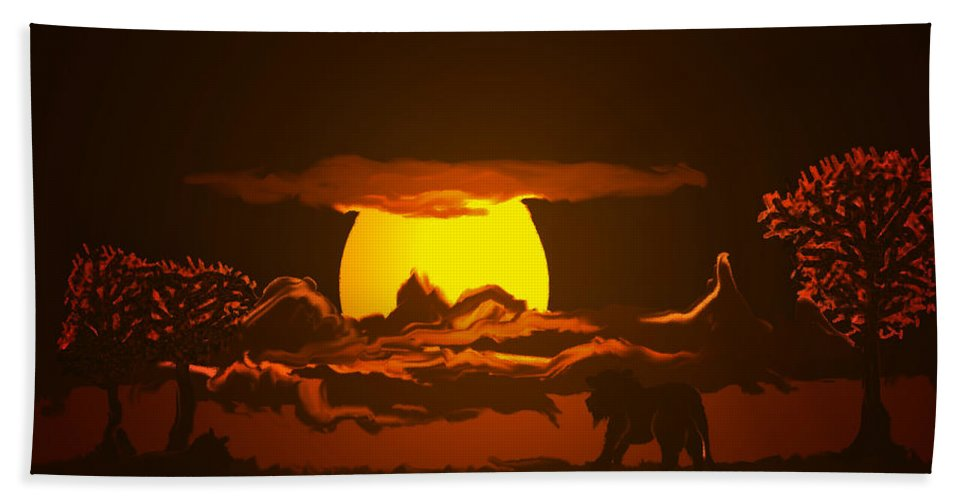 Lion Lions Desert Water Sunset Wild Animals Trees Hand Towel featuring the digital art The Last Water Hole by Andrea Lawrence