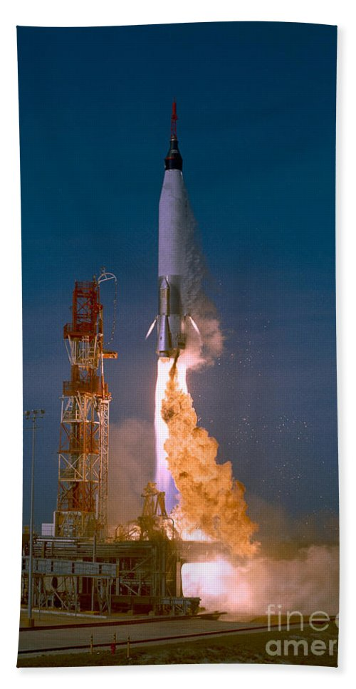 Mercury Bath Sheet featuring the photograph The Launch Of The Mercury Atlas by Stocktrek Images