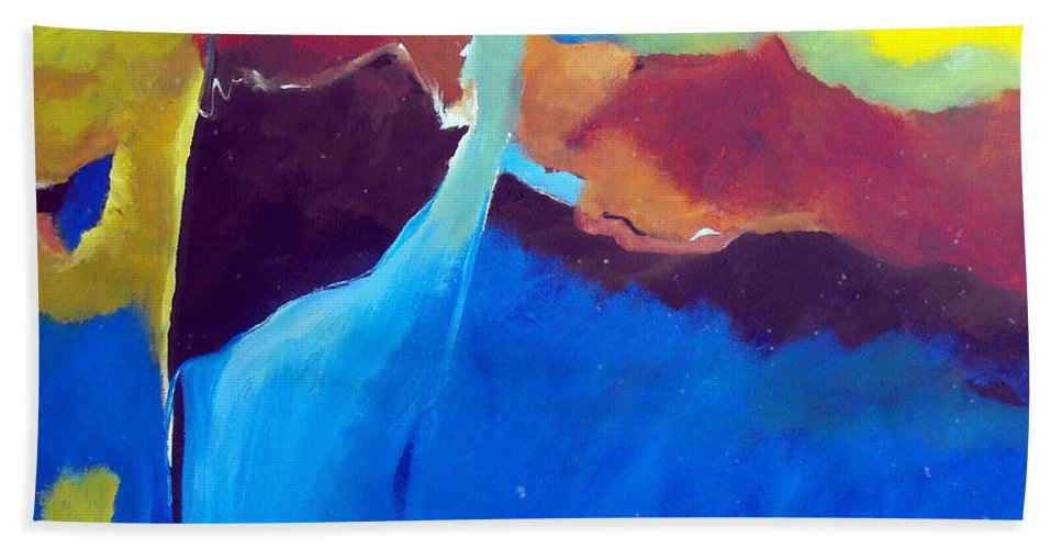 Abstract Bath Sheet featuring the painting The Lay Of The Land by Ruth Palmer