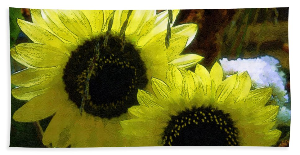 Sunflowers Hand Towel featuring the digital art The Lemon Sisters by RC deWinter
