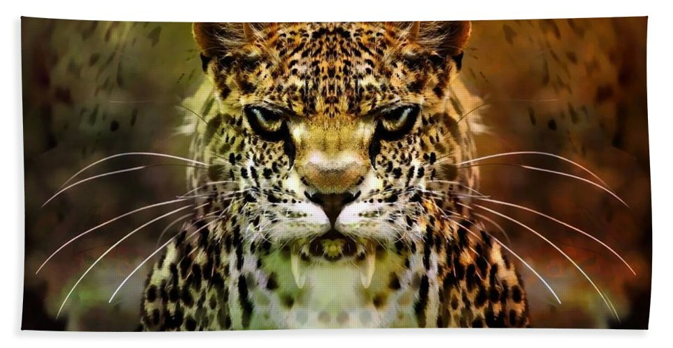 Leopard Bath Sheet featuring the photograph The Leopard Of The Temple by Daniel Arrhakis