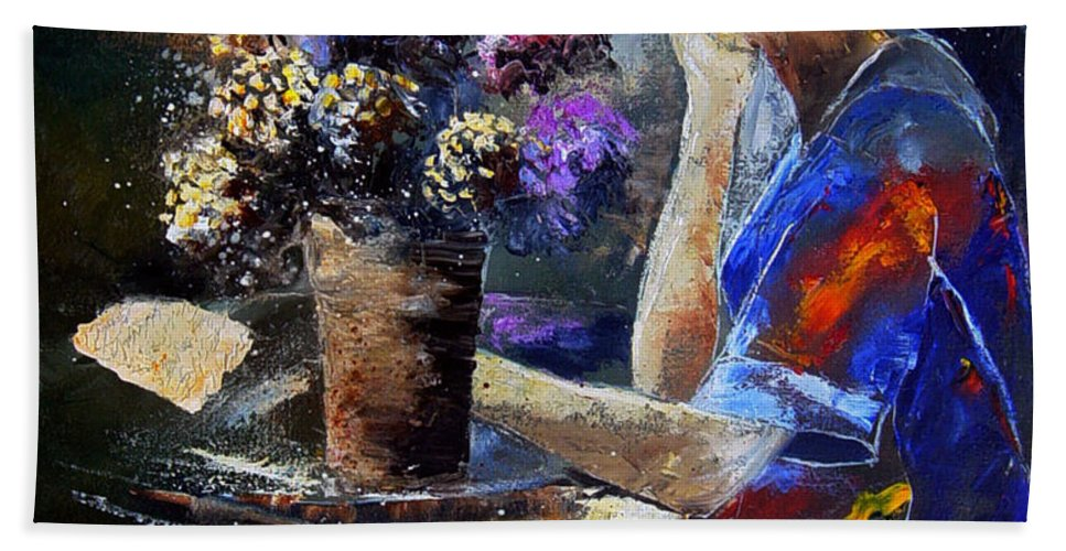 Girl Nude Bath Towel featuring the painting The Letter by Pol Ledent
