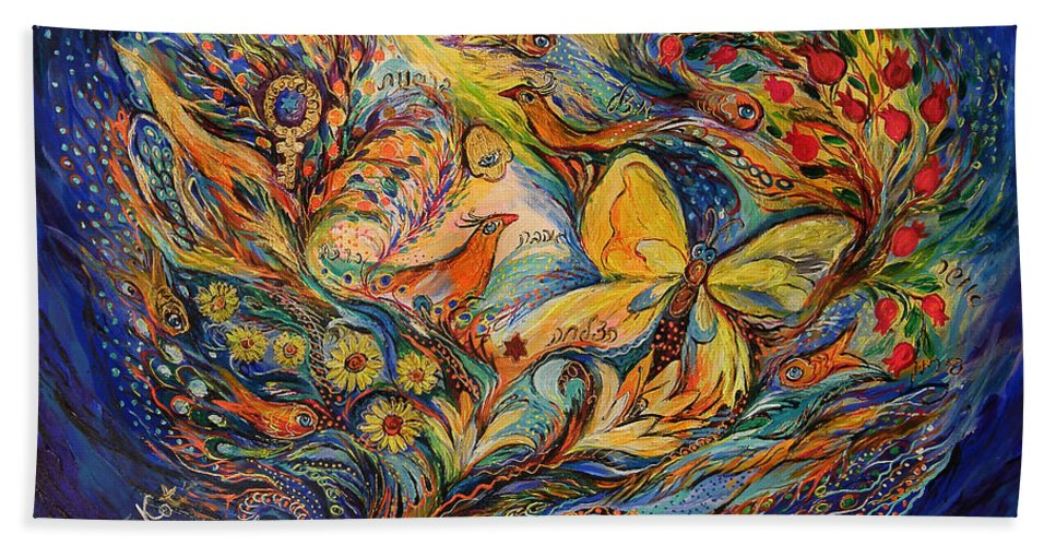 Original Hand Towel featuring the painting The Life Of Butterfly by Elena Kotliarker