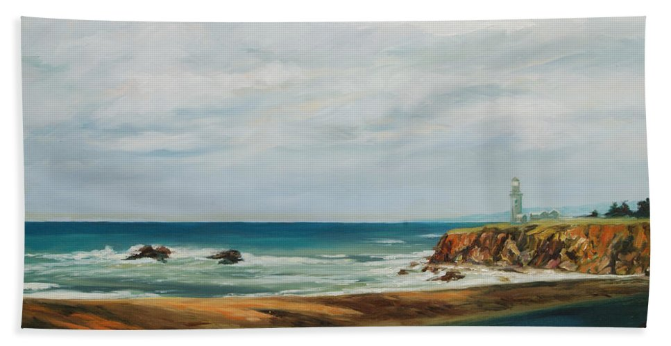 Seascape Bath Sheet featuring the painting The Light House by Rick Nederlof