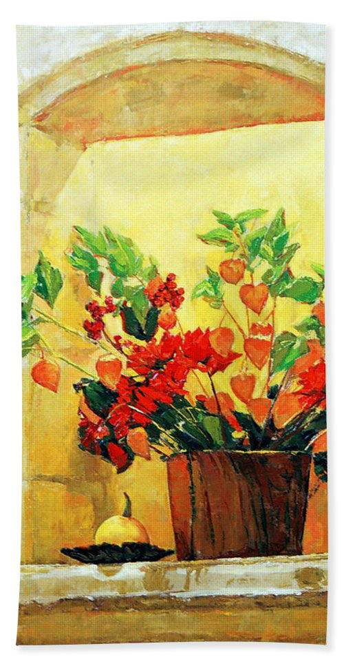 Still Life Hand Towel featuring the painting The light by Iliyan Bozhanov