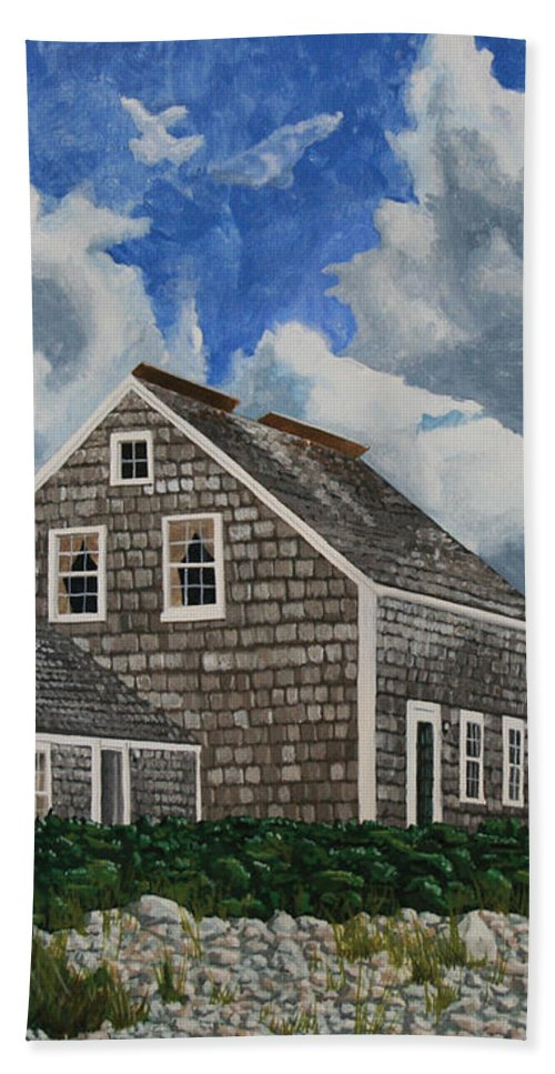 Lighthouse Bath Towel featuring the painting The Light Keeper's House by Dominic White