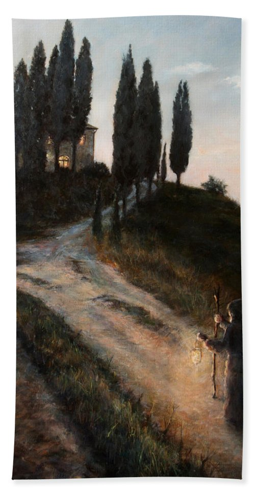 Tree Hand Towel featuring the painting The Light of a New Dawn by Darko Topalski