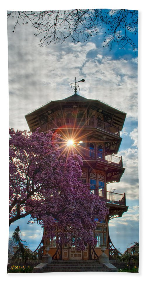 American Kiwi Photo Hand Towel featuring the photograph The Light Through The Pagoda by Mark Dodd