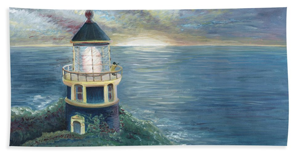Lighthouse Bath Towel featuring the painting The Lighthouse by Nadine Rippelmeyer