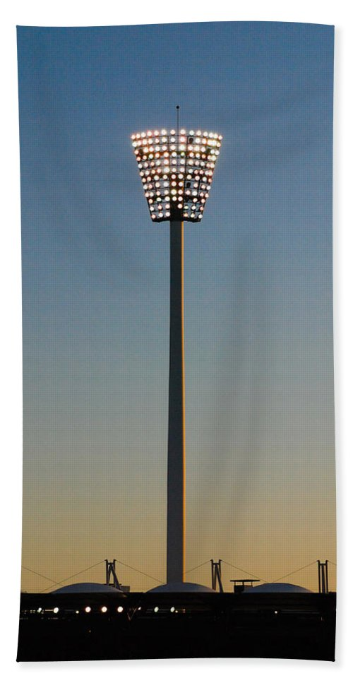 Aus Hand Towel featuring the photograph The Lights Come On At The Gabba by Rodney Appleby