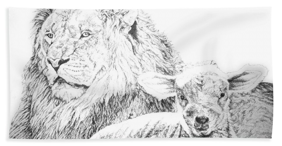 Lion Hand Towel featuring the drawing The Lion And The Lamb by Bryan Bustard