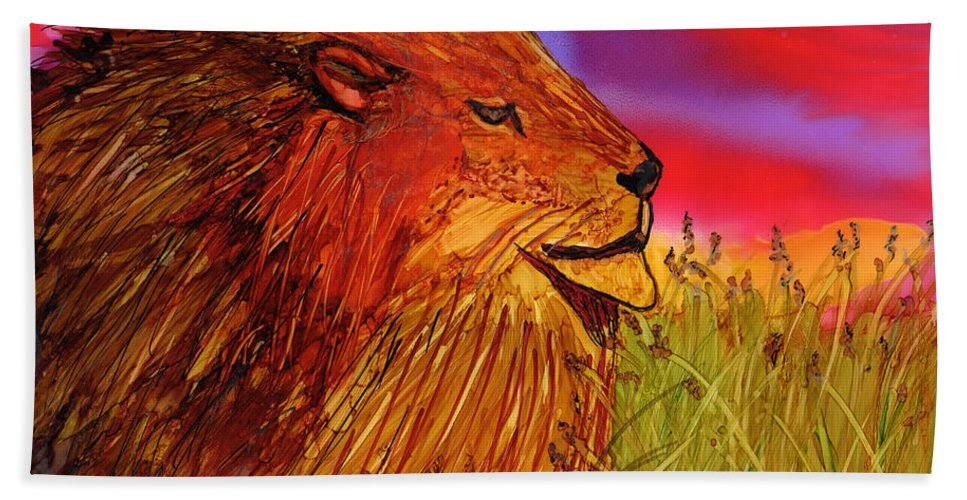 Lion King Bath Sheet featuring the painting The Lion King Of Massai Mara by Eunice Warfel
