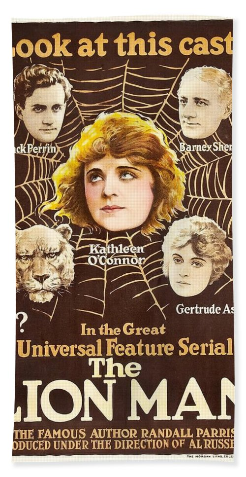 Movie Bath Sheet featuring the drawing The Lion Man 1919 by Mountain Dreams