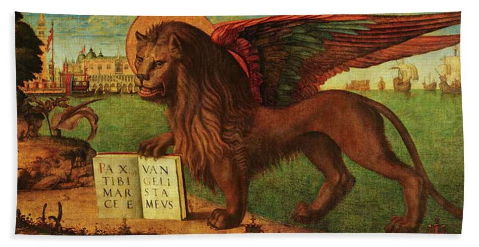 Lion Hand Towel featuring the painting The Lion Of Saint Mark by Vittore Carpaccio
