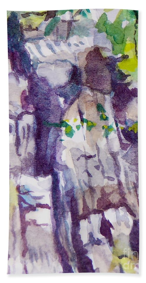 Purple Bath Towel featuring the painting The Little Climbing Wall by Jan Bennicoff