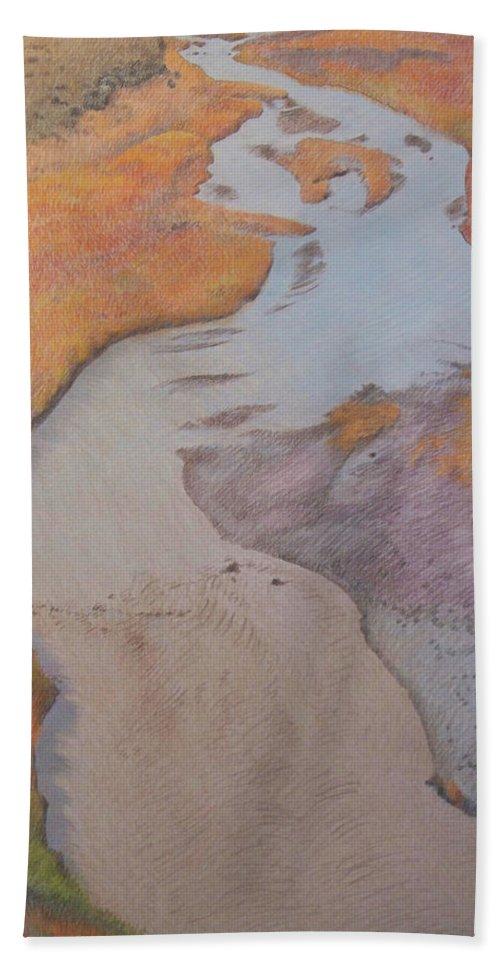 North Dakota Bath Towel featuring the pastel The Little Mo by Cris Fulton