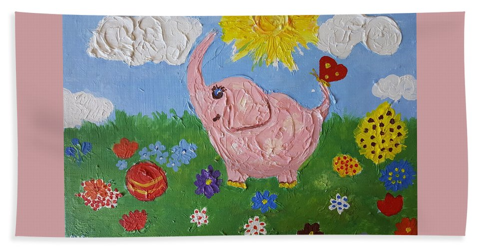 Elephant Hand Towel featuring the painting Little Pink Elephant by Rita Fetisov
