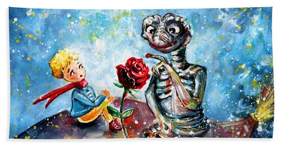 Fantasy Hand Towel featuring the painting The Little Prince And E.t. by Miki De Goodaboom
