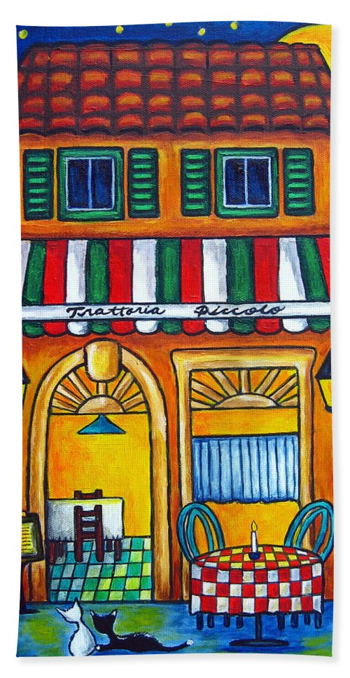 Blue Hand Towel featuring the painting The Little Trattoria by Lisa Lorenz
