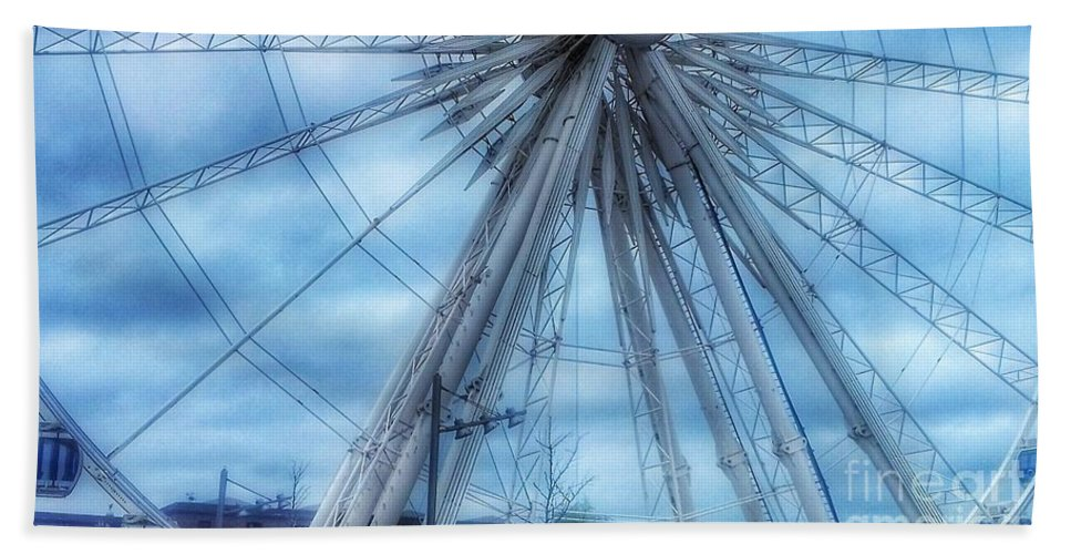 The Liverpool Wheel Bath Sheet featuring the photograph The Liverpool Wheel In Blues 3 by Joan-Violet Stretch