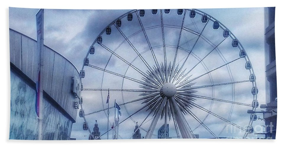 The Echo Arena Bath Sheet featuring the photograph The Liverpool Wheel In Blues by Joan-Violet Stretch