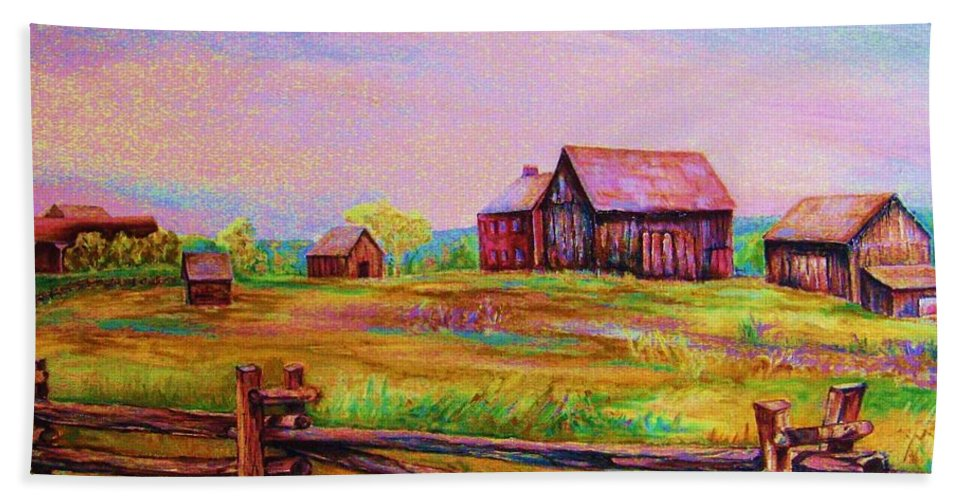 Ranches Bath Towel featuring the painting The Log Fence by Carole Spandau
