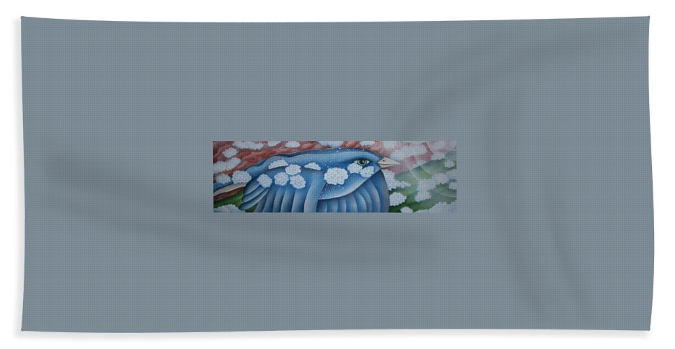 Bluebird Hand Towel featuring the greeting card The Lone Bluebird by Jeniffer Stapher-Thomas
