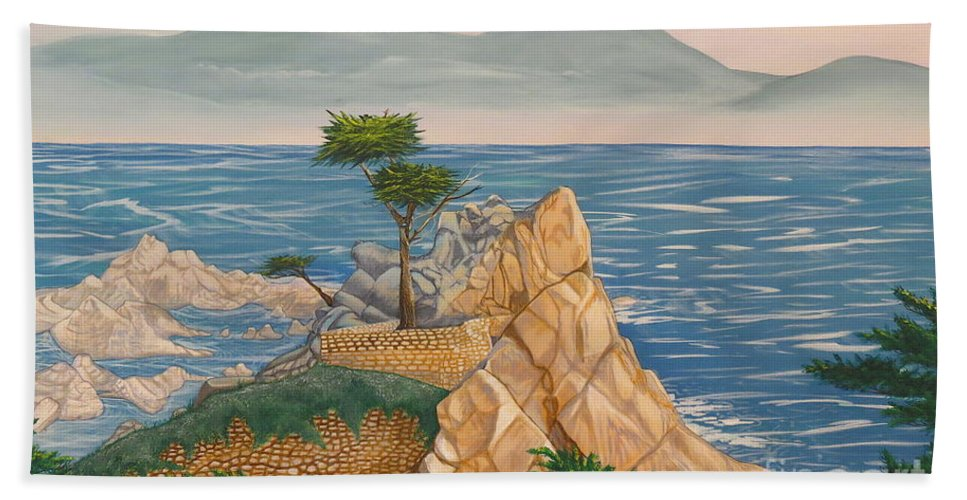 The Lone Cypress Tree Bath Sheet featuring the painting The Lone Cypress Tree by Aimee Mouw