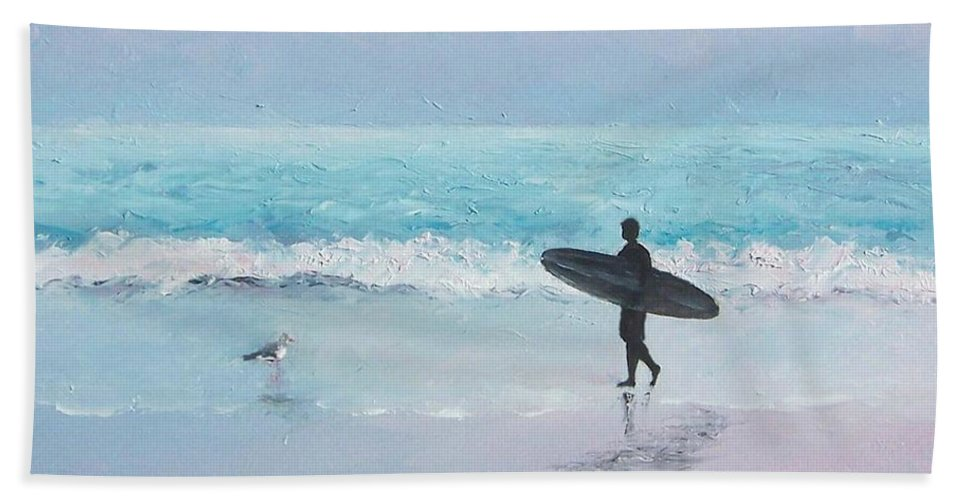 Beach Hand Towel featuring the painting The Lone Surfer 2 by Jan Matson