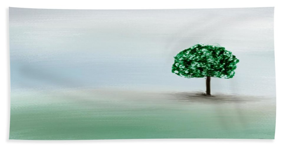 Custom Hand Towel featuring the painting The Lone Tree by Gina Lee Manley