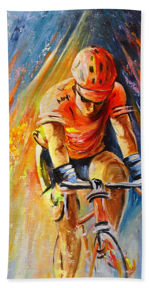 Sports Hand Towel featuring the painting The Lonesome Rider by Miki De Goodaboom