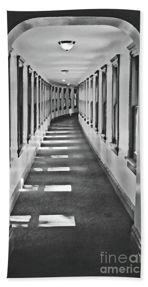 Hallway Bath Sheet featuring the photograph The Long Hall by Jost Houk