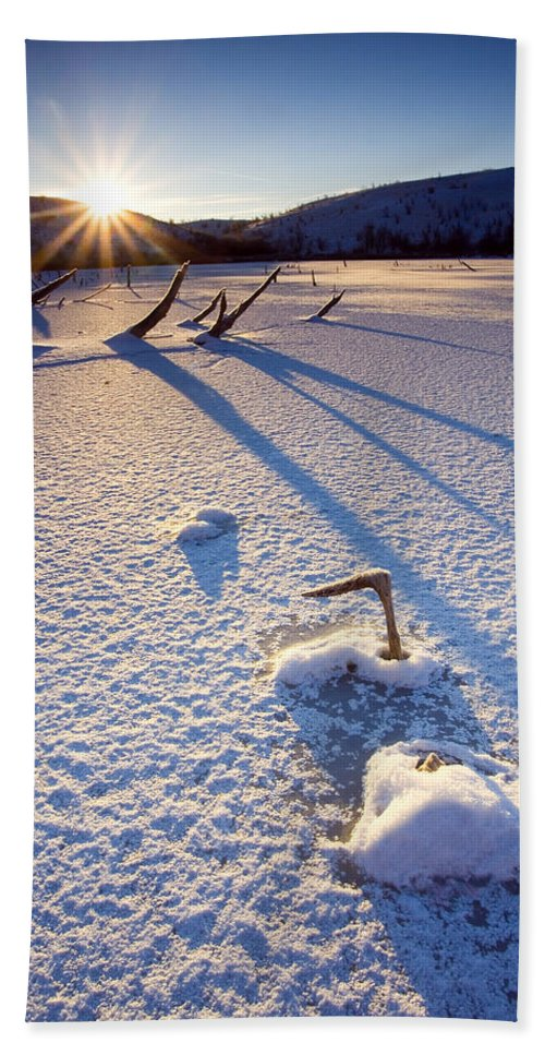 Sunrise Hand Towel featuring the photograph The Long Shadows Of Winter by Mike Dawson