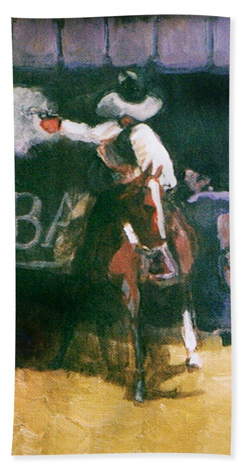 Cowboys Bath Towel featuring the painting The Lord Helps Them...A Study by Seth Weaver